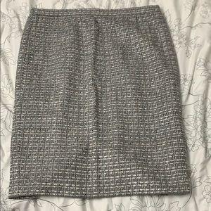 Escada for Neiman Marcus Tweed Boucle Skirt Silver